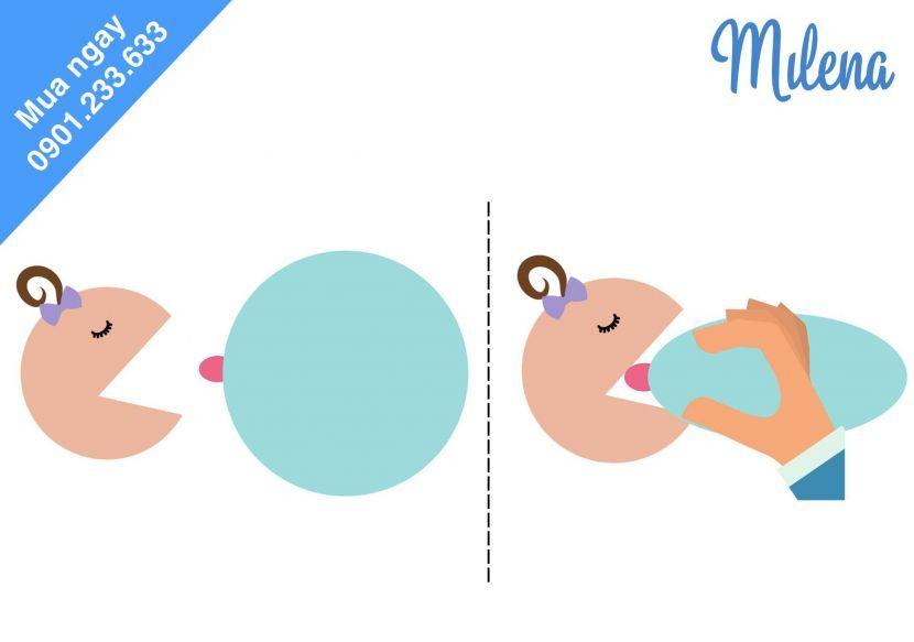 Cách mẹ cho con bú khi có núm ti dẹt, ti phẳng, ti thụt vào trong - Milena - 2