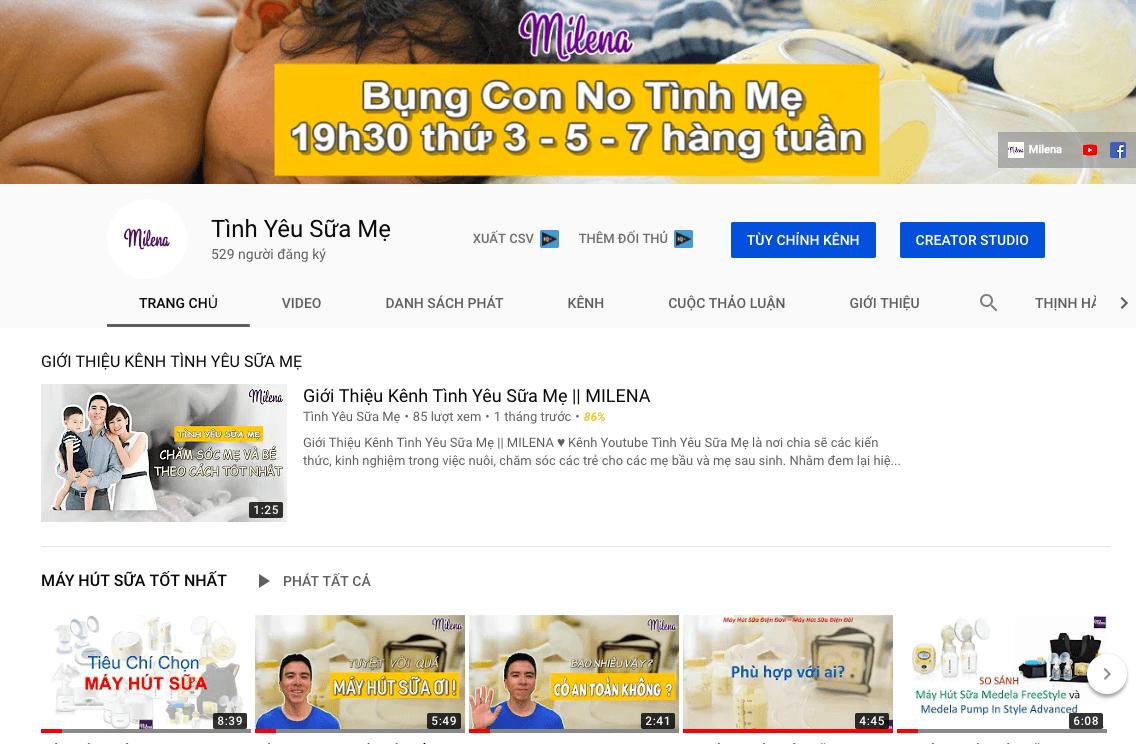 Kênh Youtube Máy Hút Sữa Với nhiều thông tin bổ ích cho mẹ